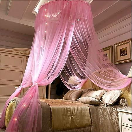 Wenset Princesa Romantico Mosquitera de cama, 45D 3 la apertura Decoración Cama con dosel Con 1 Gancho Camas dobles Protección antimosquitos Instalación fácil-Frijol arena 4-7 ft cama