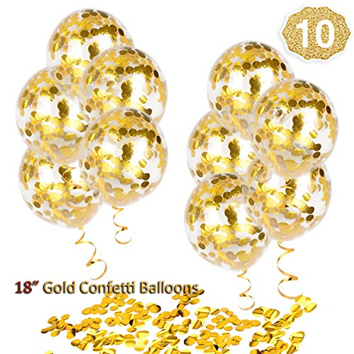 HoveBeaty Gold Confetti Balloons, Round 18'' Party Balloons Latex Transparent Golden Balloons for Wedding, Proposal, Birthday Party Decorations (10 -