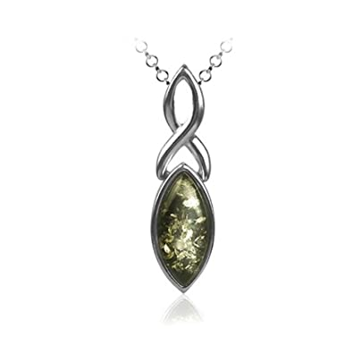 Green Amber Sterling Silver Drop Pendant Chain Rolo46cm