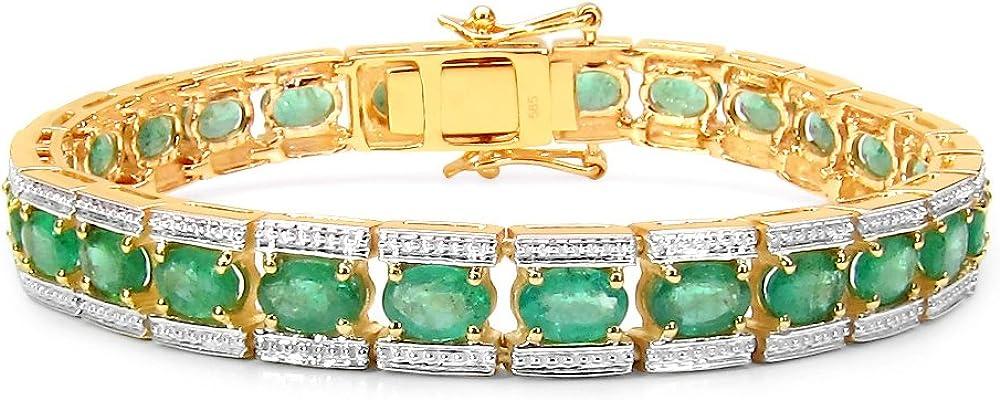 Jaipuri.InStyle by Tricolour–Mujer–Pulsera de oro amarillo de 14quilates (585): verdadera piedras preciosas–esmeralda 8.1mm–11.7CT