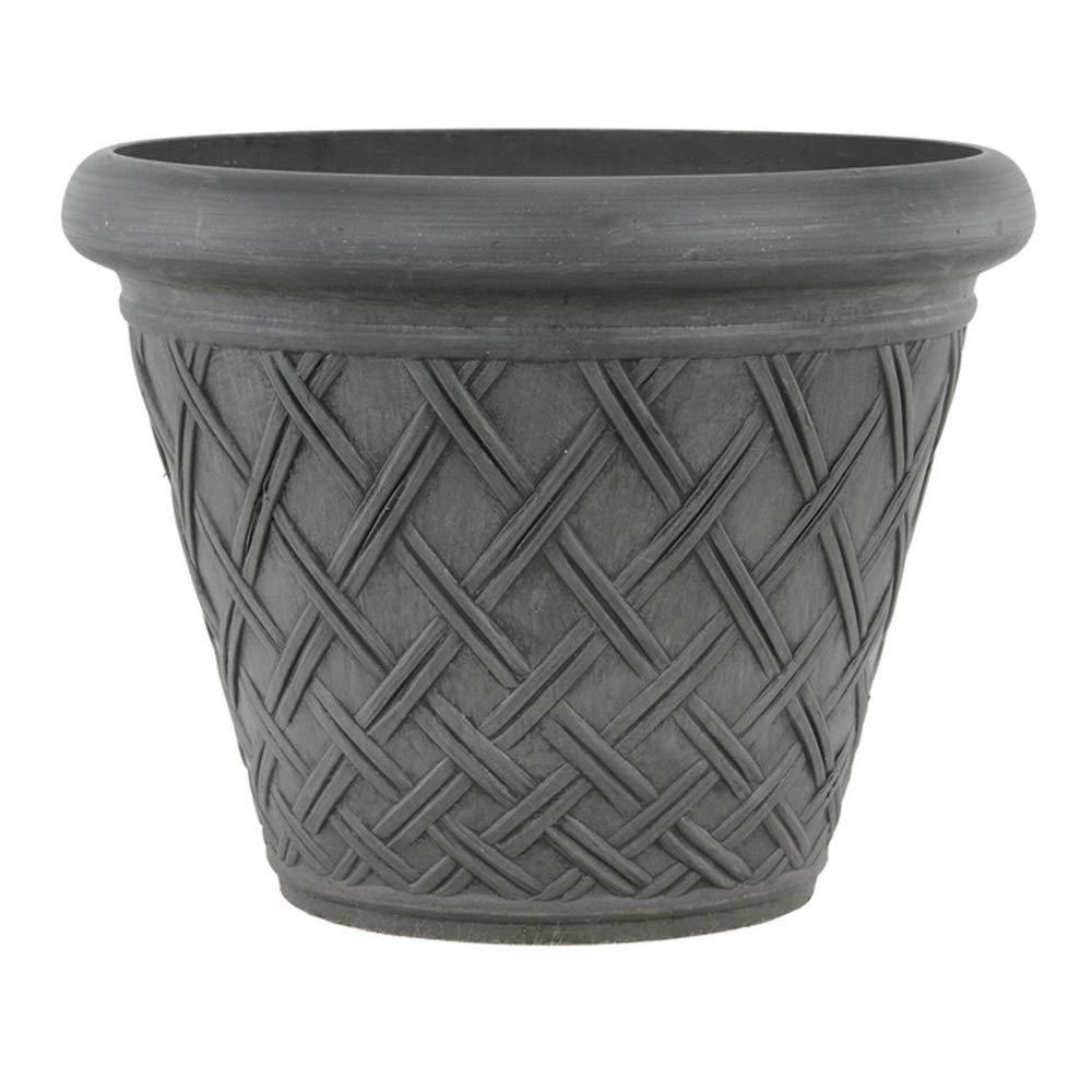Arcadia Garden Products PSW MB46DC Basket Weave Planter, 18 by 14-Inch, Dark Charcoal