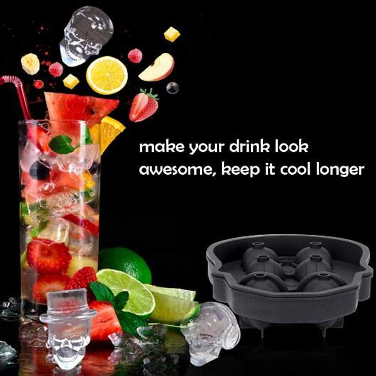 Cocktails et boissons jus avec mini Entonnoir dr/ôle T/ête de mort de glace pour Whiskey T/ête de mort Moules /à gla/çons bac Moule Bac /à Gla/çons Silicone Souple