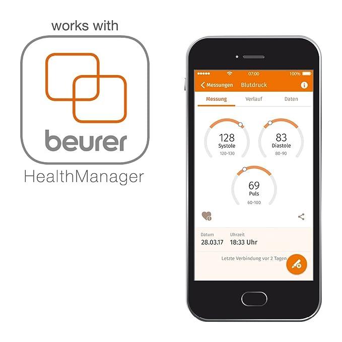 Beurer BC85 Tensiómetro de Muñeca, Plata, PantallaLCD, Función Bluetooth, Memoria 2 x 60 Mediciones: Amazon.es: Salud y cuidado personal