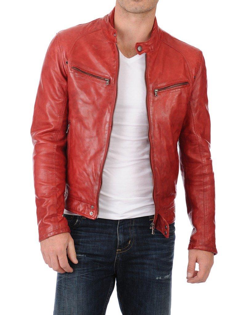 Leather Scan Men's Lambskin Leather Bomber Biker Jacket X-Large Red