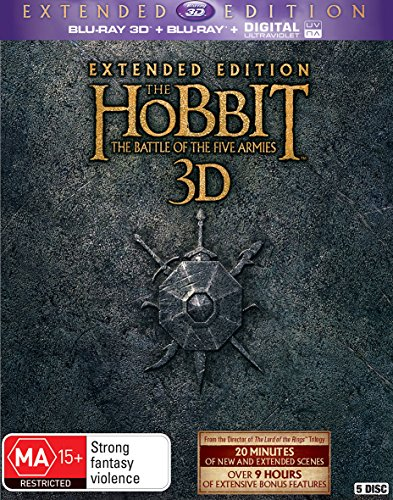Hobbit Battle of Five Armies | Ext Edition | 3D Blu-ray | 5 Discs | Peter Jackson's | NON-USA Format | Region B Import - Australia