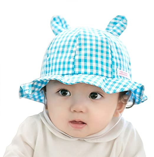 579520d06b0a7 Roffatide Baby Toddler Infant Cute Ears Plaid Boonie Bucket Sun Hat Summer  Cap with Chin Strap