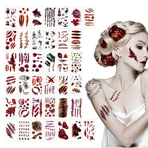 ANPHSIN 38 Sheets Halloween Zombie Scar Tattoos, Blood Wounds Temporary Tattoo Scar Stickers for Halloween Cosplay Party Costume