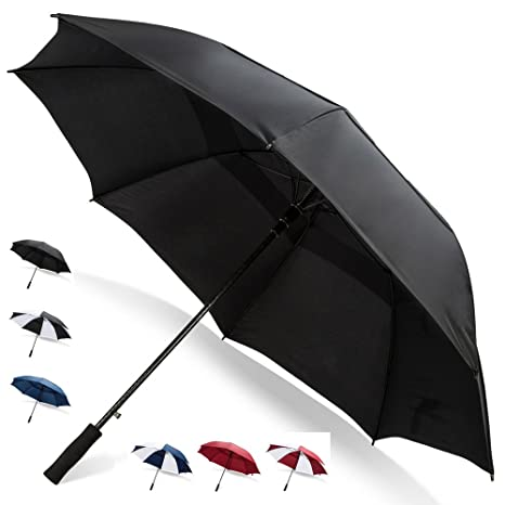 ce9832582dcec7 62 Inch Golf Umbrella (Black, 1-Pack) Umbrella Windproof Travel Umbrella  Black