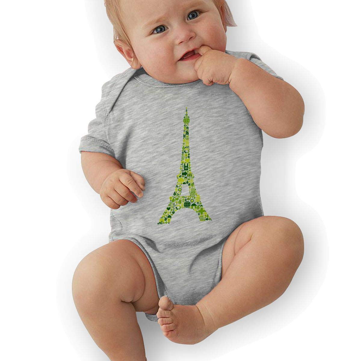 Toddler Baby Girls Bodysuit Short-Sleeve Onesie Eiffel Tower Print Rompers Summer Pajamas