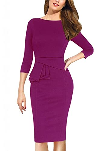 Sunblume Scoop Neck Elegant Vintage Cocktail Wedding 3/4 Sleeve Bodycon Dress