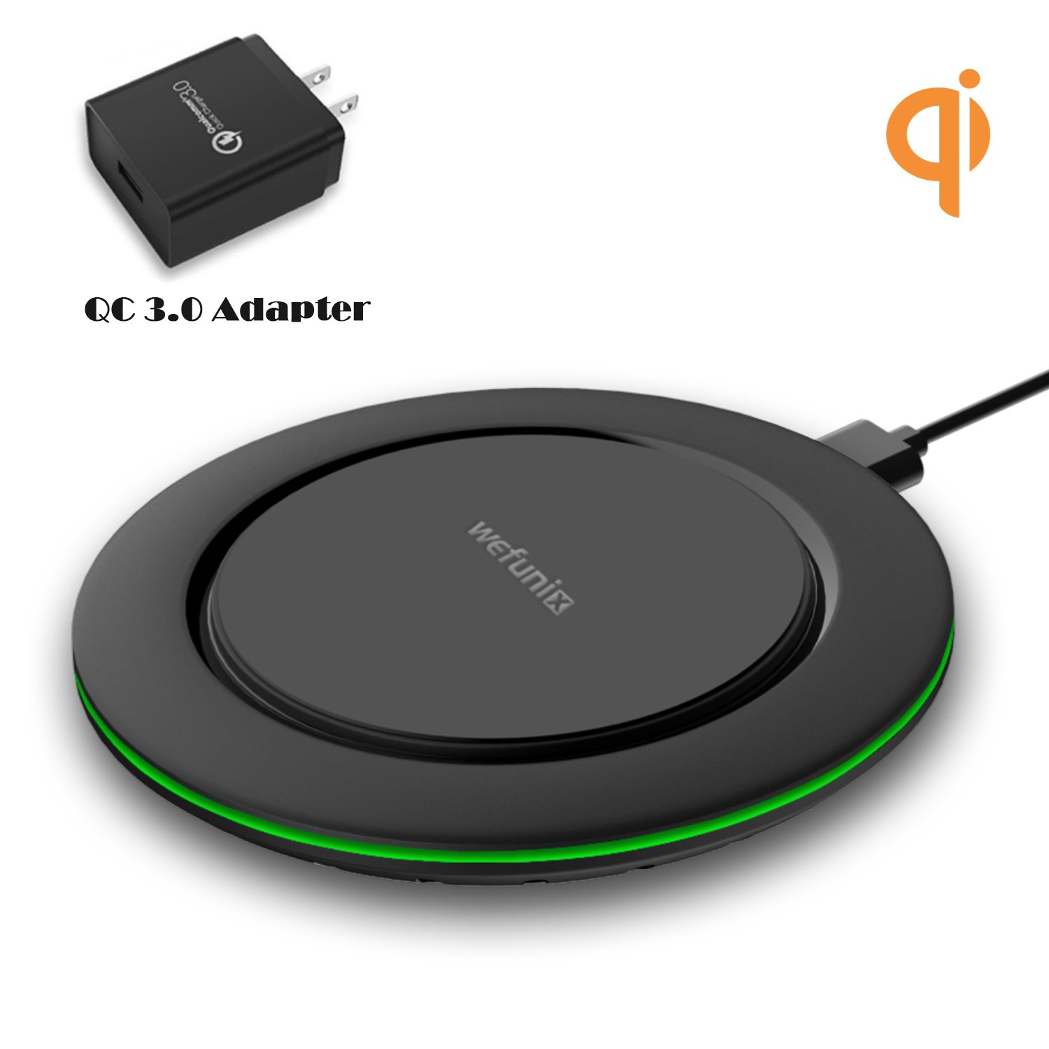 10W Fast Wireless Charger for Samsung Galaxy S9 S9Plus Note 8/5 S8 S8Plus S7 S7Edge S6Edge Plus- Wefunix Qi Certified 7.5W Fast Wireless Charging Pad for iPhone X 8 8Plus- QC3.0 AC Adapter Included WFX-531