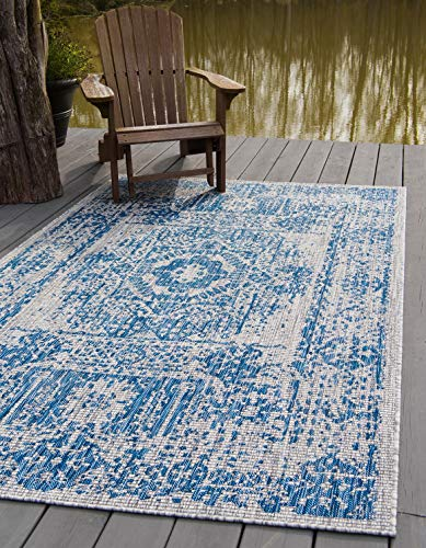 Unique Loom Outdoor Traditional Collection Distressed Vintage Medallion Transitional Indoor and Outdoor Flatweave Blue Area Rug 5 0 x 8 0