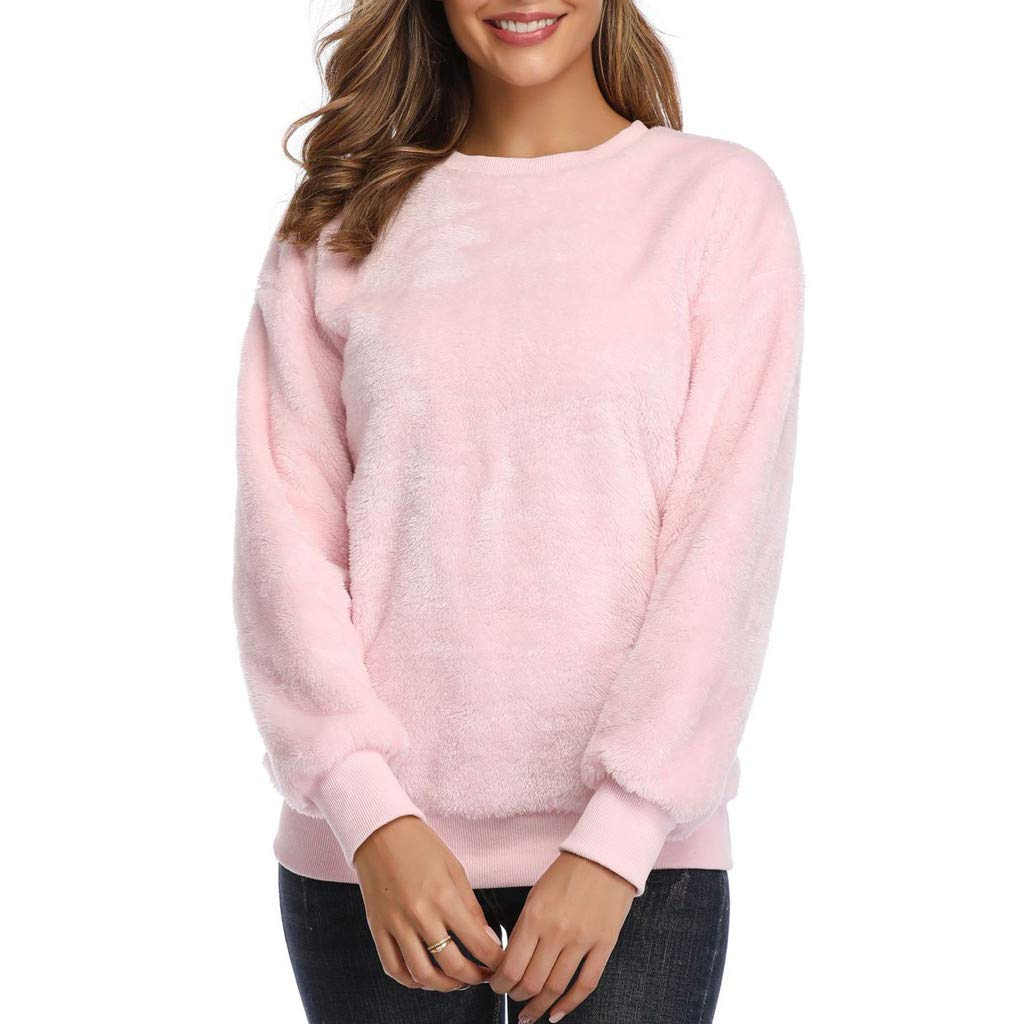 Women Plush Sweater Imitation Lambskin Round Neck Long Sleeve Blouse Loose Solid Color Fashion Wild Tight for Lady Pink