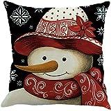 Fossrn Fundas De Cojines 45x45, Avatar de Navidad muñeco de Nieve Patrón Almohada de Sofá