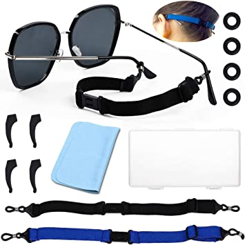 2 Packs Universal Glasses Straps Sports Elastic Adjustable Eyewear Glasses Retainers with 4 Anti-Slip Hooks /& 4 Round Glasses Retainer /& 1 Glasses Cloth /& Portable box,No Tail Sunglasses Strap