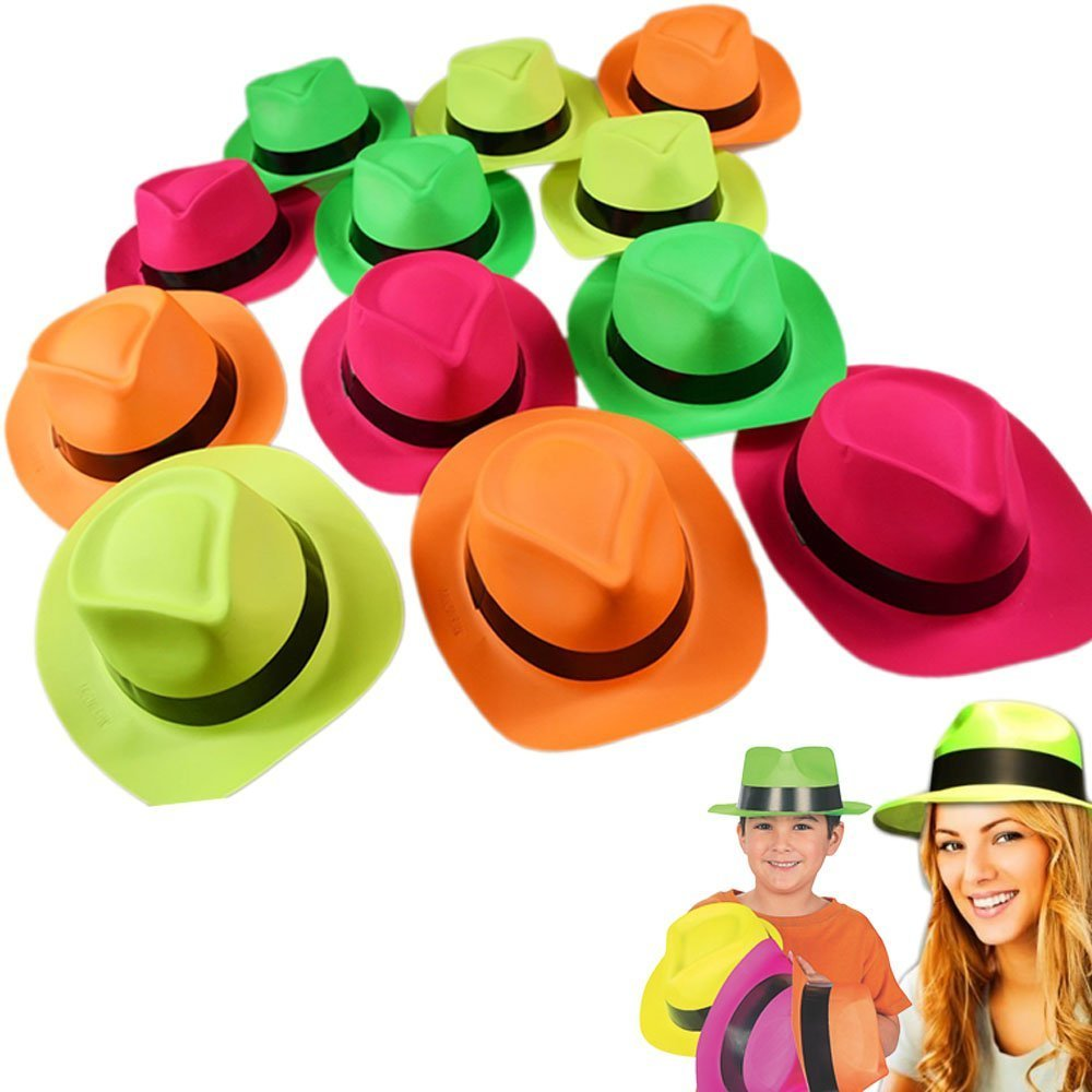 Neon Plastic Gangster Hats - 24 Pack - Dress Up Toy, Party Favor & Accessory For Photo Booths & Themed Parties - Assorted Colors - By Dazzling Toys by dazzling toys