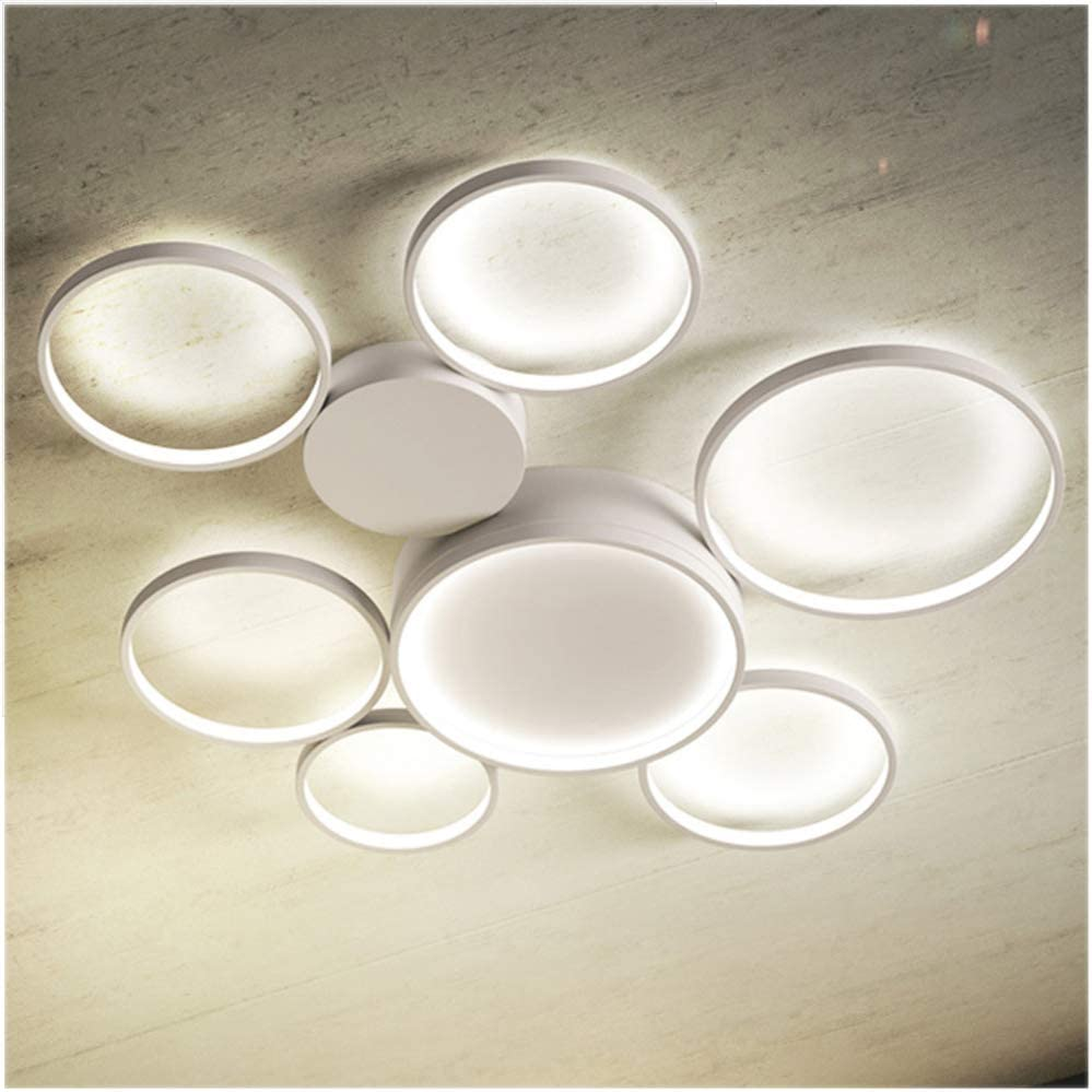 Lingkai Modern LED Flush Mount Ceiling Light 7-Light Chandeliers Control Nature White and Warm White Dimmable Circle Rings Design Ceiling Lamp for Living Room Bedroom Kitchen 3000K-6000K