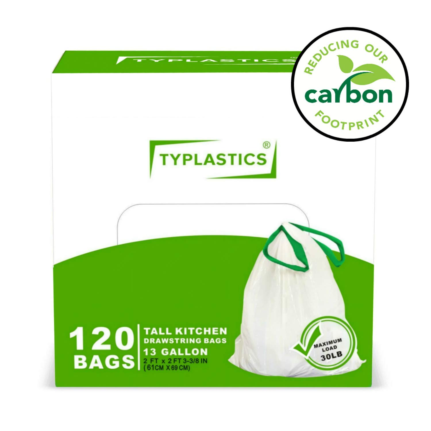 TYPLASTICS Drawstring Trash Bags - Strong Tall Kitchen Trash Bag - White Multipurpose Garbage Bags - Indoor and Outdoor Use - 120 Bags (White, Basic)