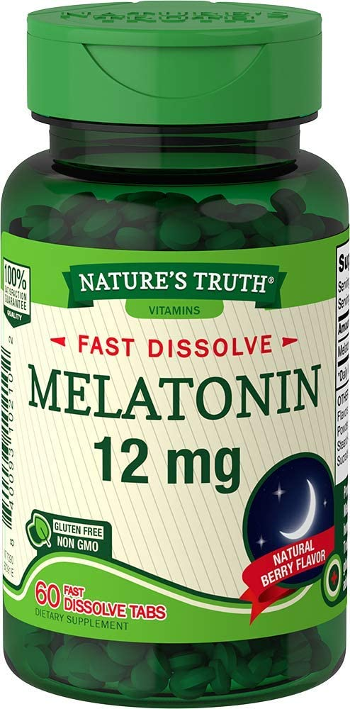 Nature's Truth Melatonin 12 mg, Natural Berry Flavor, 60 Count, Multi