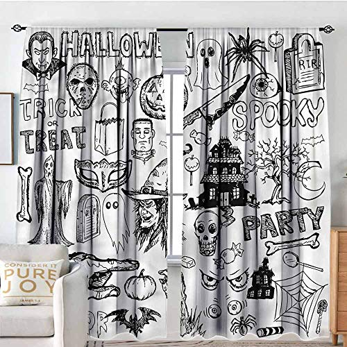 TextileLIHome Blackout Room Darkening and Thermal Insulating Window Curtains - 2 Panels Set -Rod Pocket Panels, 72 inch Wide by 96 inch Long, 2 Panels, Vintage Halloween, Treat ()