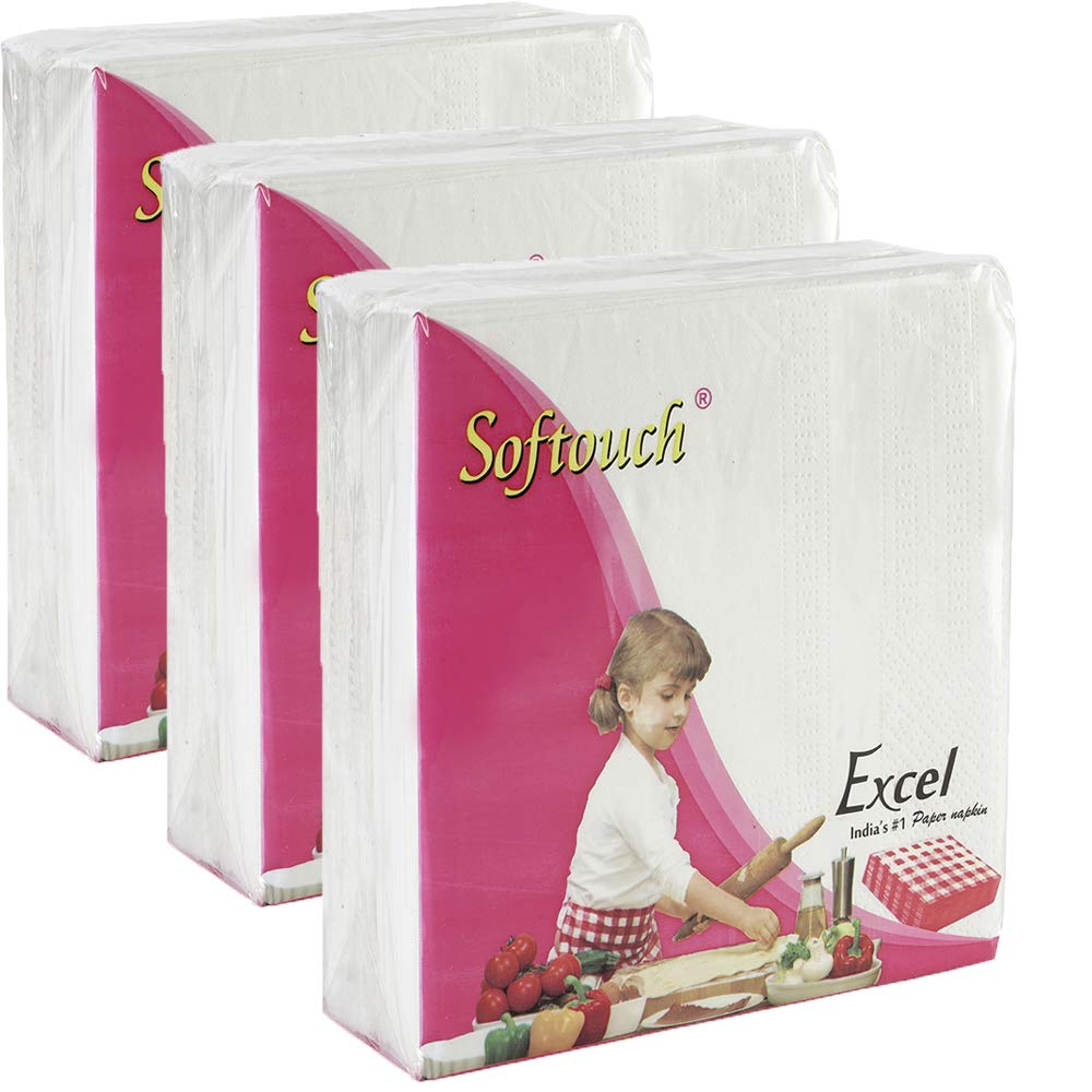 Softouch 2 Ply Tissue paper Napkins 50 Pcs. each- Set of 3 (33x33 cm)