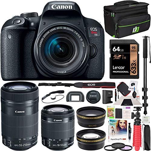 Canon EOS Rebel T7i DSLR Digital SLR Camera + EF-S 18-55mm is STM + EF-S 55-250mm is STM 2 Lens Kit + 0.43x Wide Angle Lens + 2.2X Telephoto Lens + Deco Gear Case + 64GB Memory Card Accessory Bundle