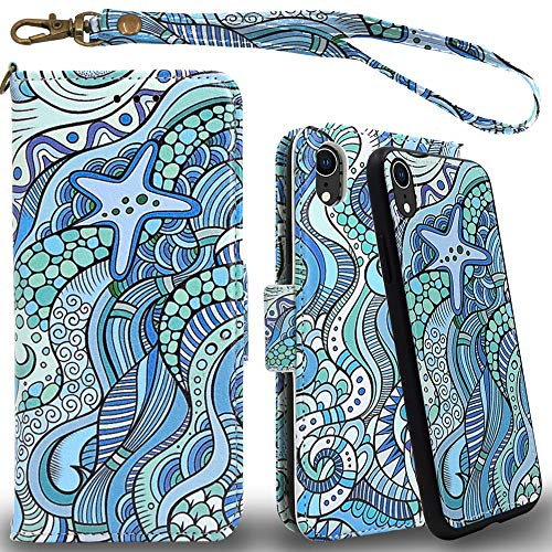 Mefon iPhone XR Detachable Leather Wallet Case, with Tempered Glass and Wrist Strap, Enhanced Magnetic Closure, Card Slot, Kickstand, Luxury Flip Folio Cases for Apple iPhone XR 6.1 (Starfish Ocean)