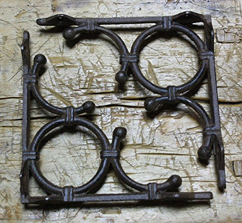 New 8 Cast Iron by YourLuckyDecor Antique Style LIFE RING Brackets, Garden Braces Shelf Bracket Bamboo by New