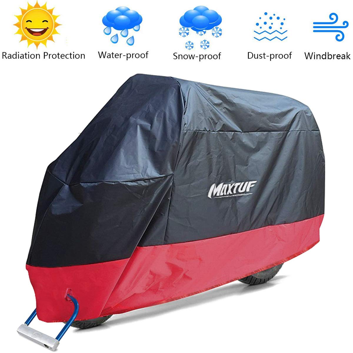 MAXTUF Motorcycle Cover, Oxford Fabric 220x95x110CM Waterproof Breathable Motorbike Cover Dust Rain Sun Protection with Lock Holes for Norton, BSA, TRIUMPH, ABC, Honda, Yamaha, Suzuki, Harley SIZE L