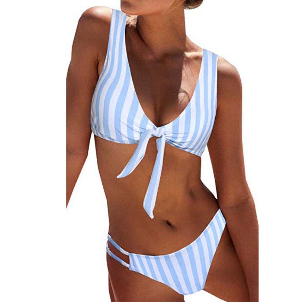Duseedik Women's Swimsuit Sexy Polka Dot Bow Detachable Padded Cutout Push up Striped Bikini Set Blue by Duseedik (Image #2)