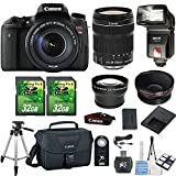 Canon EOS Rebel T6s 24.2MP DSLR Camera with Canon 18-135mm STM Lens+.43x Wide Angle Aux Lens+2.2x Telephoto Aux Lens+2pc 32GB SD Cards +Flash + SD Card Reader + Canon Case + 50'' Tripod