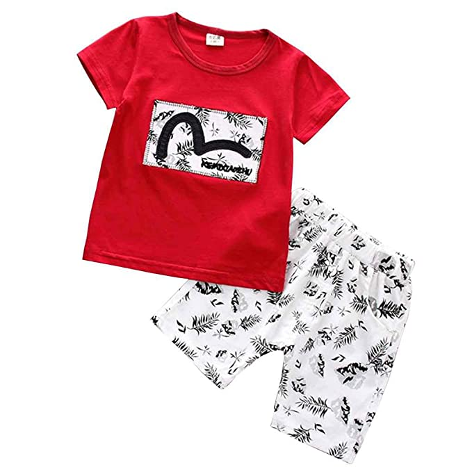 9a3228170 Amazon.com  MuLuo Infant Baby Boys Short Sleeve Romper T-Shirt Tops ...