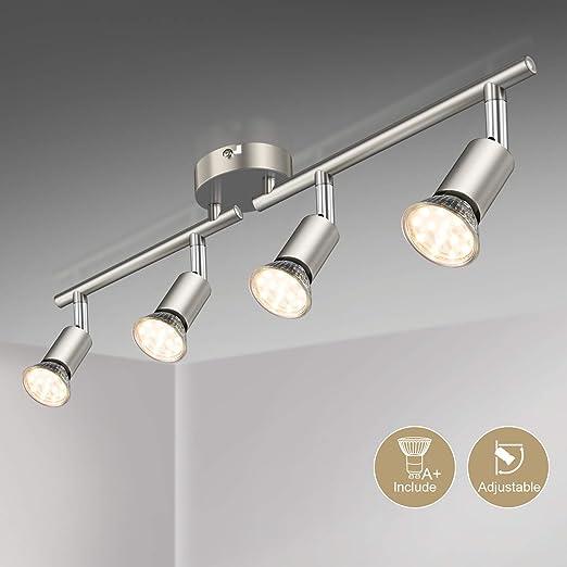Defurhome LED Deckenleuchte Drehbar, 4 Flammig LED Strahler Deckenlampe  Spot,Modern Deckenstrahler (Mattes Nickel) für Küche, Wohnzimmer, ...