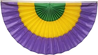 """product image for Independence Bunting Mardi Gras Bunting American Made 36"""" x 72"""" Nylon Mardi Gras Bunting Flags! Fully Sewn Mardi Gras Decorations. Available!"""