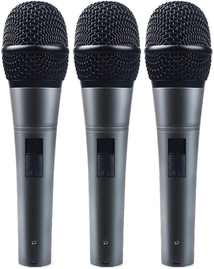 Professional Dynamic Cardioid Vocal Wired Microphone with 19.68 ft XLR Cable, MAONO AU-K04T 3 Pieces Metal Handheld Mic for Karaoke, Stage, Performance, Public Speaking, Home KTV: Musical Instruments