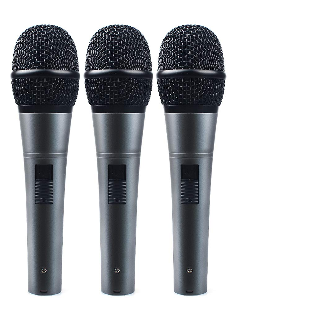 Professional Dynamic Cardioid Vocal Wired Microphone with XLR Cable (19ft XLR-to-1/4 Cable), MAONO-K04 Metal Cord Mic Plug and Play for Stage, Performance, Karaoke, Public Speaking,Home KTV(3 Pack)