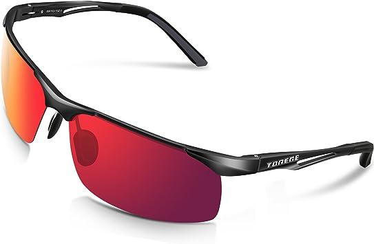 Torege - Gafas de sol deportivas polarizadas para hombres y mujeres, para ciclismo, correr, pescar, jugar al golf, TR90, montura irrompible, M294, metal, Black&Black&Red Lens: Amazon.es: Deportes y aire libre