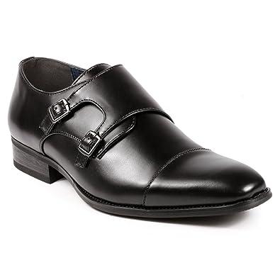 Men's Double Monk Strap Oxford Shoes@Cap Toe Dress Shoe Slip-On Loafer Black Brown