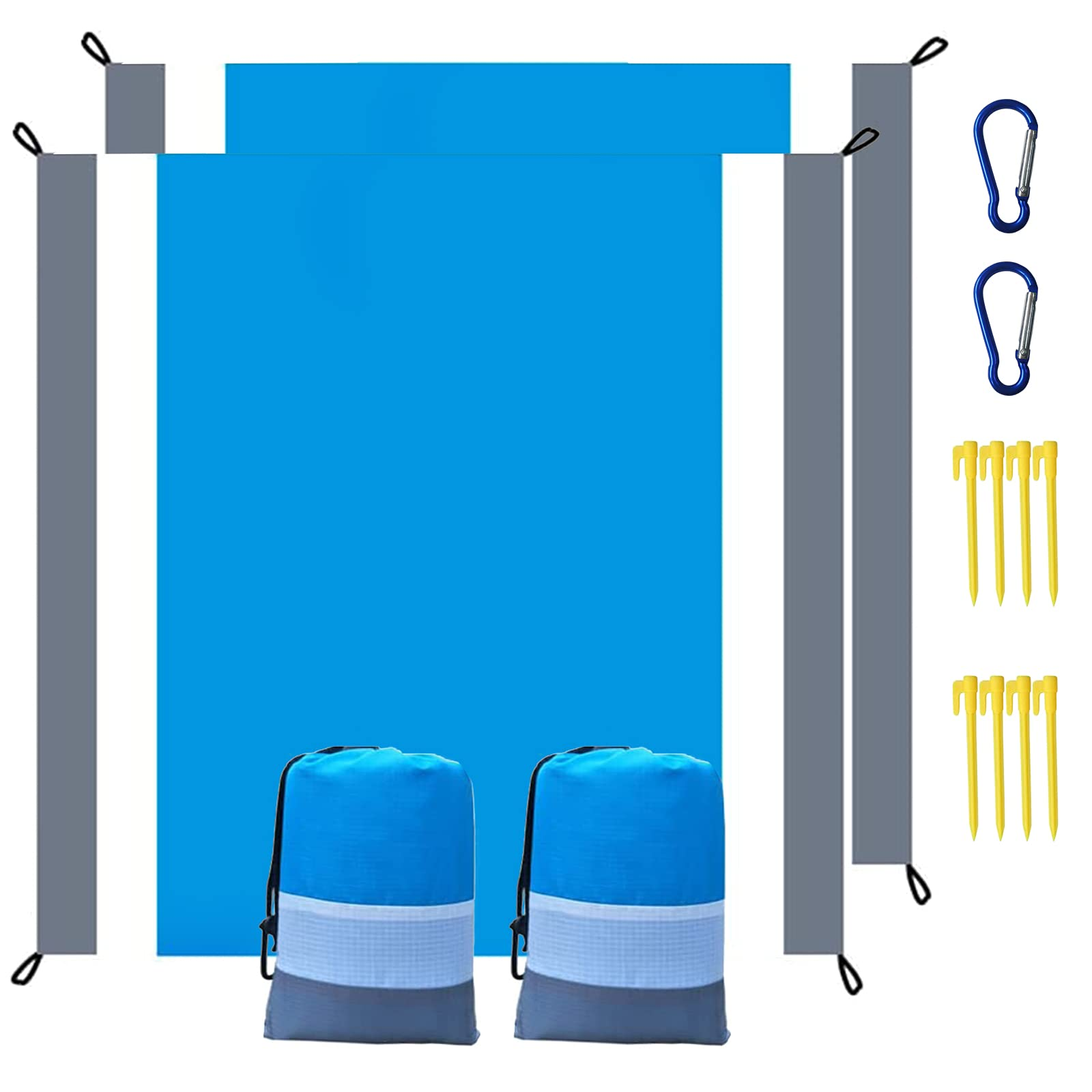 Beach Blanket 2 Packs Sandproof Oversized 85×80 for 4-7 Adults Picnic Blankets