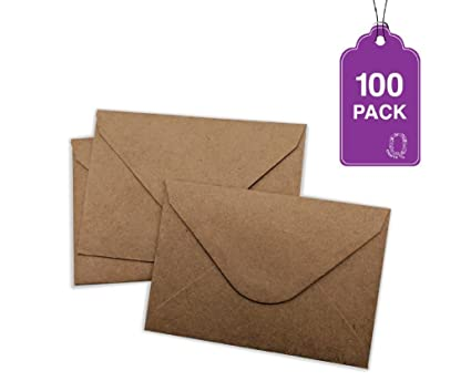 100 pack brown kraft mini envelopes 4 x 275 gift card envelopes easy - Business Card Envelopes