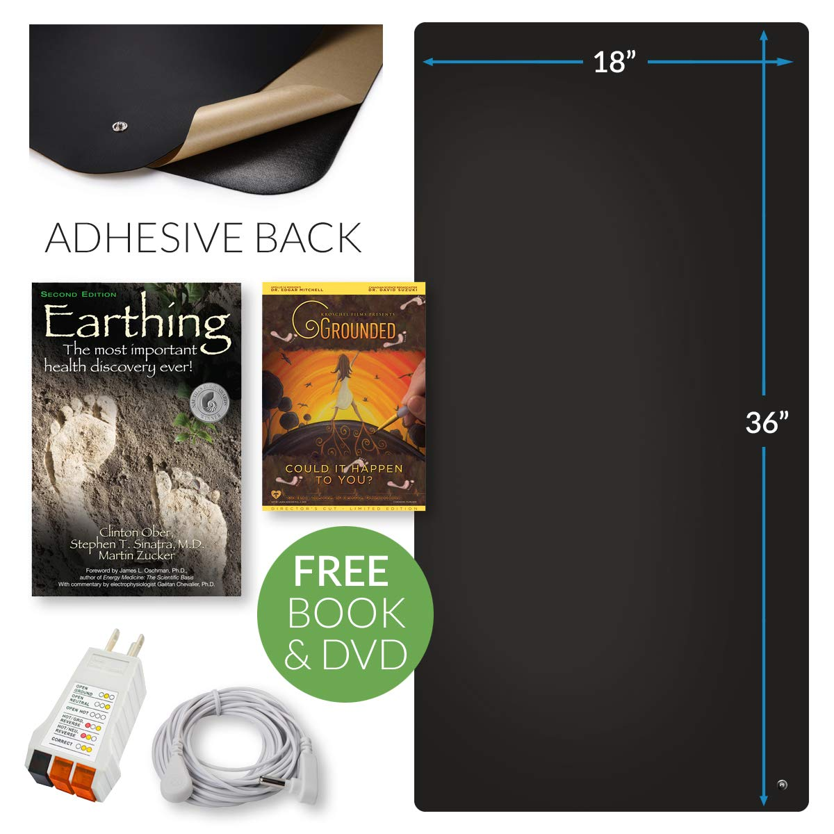 Earthing® Office Chair Mat Kit - Stay Grounded Indoors - Includes Mat, Cord, Adapter, Tester - Reduce Inflammation, Improve Sleep, Stress, and Anxiety - Earthing Book and Documentary DVD Included by Earthing