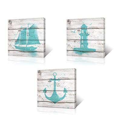 VVOVV Wall Decor Wall Art for Bathroom Blue Anchor Sailboat and Lighthouse Watercolor Painting Vintage Woodboard Background Picture Prints on Canvas Ready to Hang 3 Panels (12x12inchx3pcs)