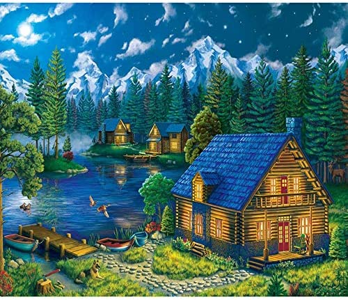 HOMENOTE Diamond Painting Kits for Adults Full Drill 5D Diamond Art Kits with Round Diamonds Rhinestone Lakeside House Canvas Embroidery Craft for Living Room Home Wall Decor (15.7x19.7in)