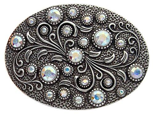 Antique Silver Oval Engraved Crystal AB Rhinestone Belt ()