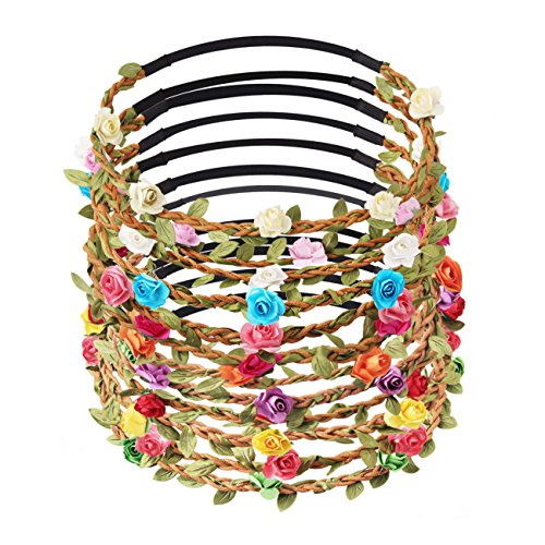 Candygirl 12pcs Girl Fashion Bohemian Flower Crown Floral Garland Headbands For Girls ()