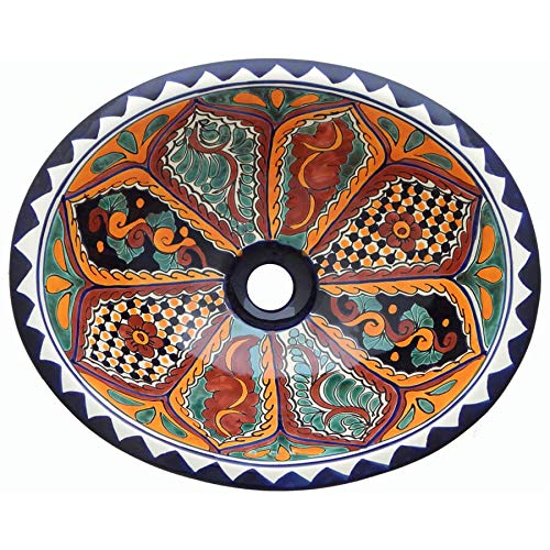 Talavera Mexican Handmade Hand Painted Bathroom Sink MEDIUM - Style Mirrors Mexican Bathroom