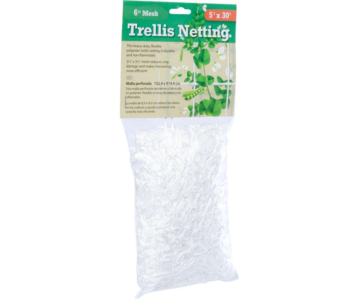 Hydrofarm HGN15S Flexible String Trellis Netting, 5'x15', 3.5'' Mesh