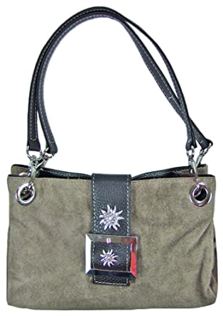Wildleder Trachten Handtasche Mit Edelweiss Hellbraun Sehr Schone