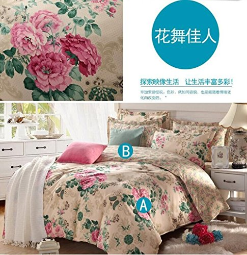 4 Piece Quilt Duvet Cover Set 1 Duvet Cover + 2 Pillow Shams + 1 bed sheet - Quality Durable Bed Cover Coordinates/ Dance with the wind /6 Feet by GH8 (Image #1)