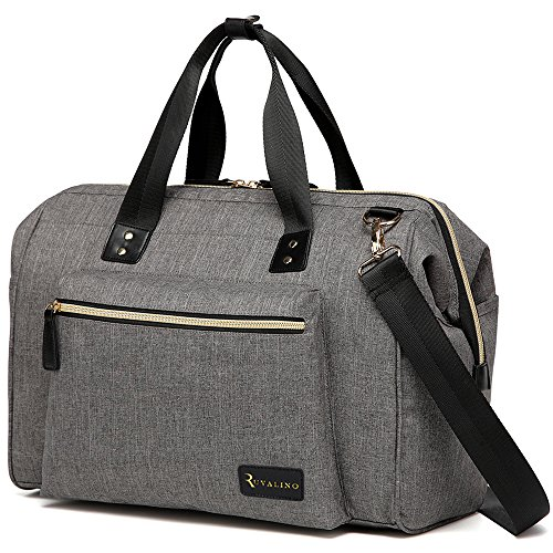Large Diaper Bag Travel Tote Multi-function for Mom and Dad - Convertible Baby Bags for Boys and Girls with Changing Pad, Insulated Pockets (Gray)